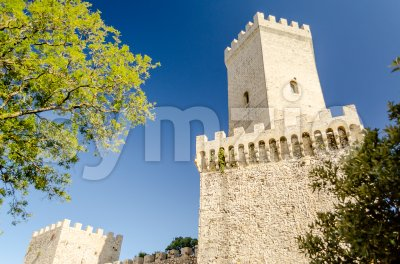 Balio Towers, a medieval fortification in Erice, Sicily, Italy Stock Photo