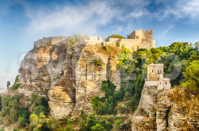 View over medieval Castle of Venus in Erice, Sicily, Italy Stock Photo