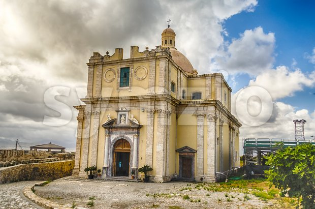 Cathedral inside the old Castle of Milazzo, Sicily, Italy Stock Photo