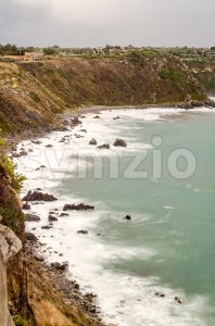 Aerial view of a mediterranean beach in Milazzo, Sicily, Italy Stock Photo