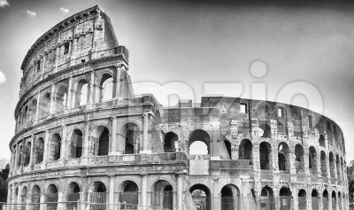 View over the Flavian Amphitheatre, aka Colosseum in Rome, Italy Stock Photo