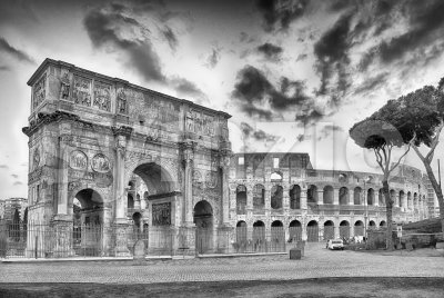 Arch of Constantine and The Colosseum, Rome, Italy Stock Photo