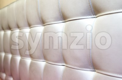 Tufted white leather headboard texture for background Stock Photo