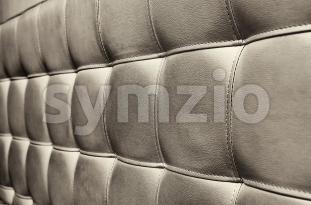 Tufted grey leather headboard texture for background Stock Photo