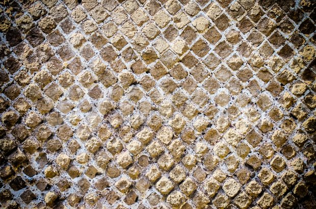 Stone Brick Wall Texture with Vignette Effect, may use as background Stock Photo