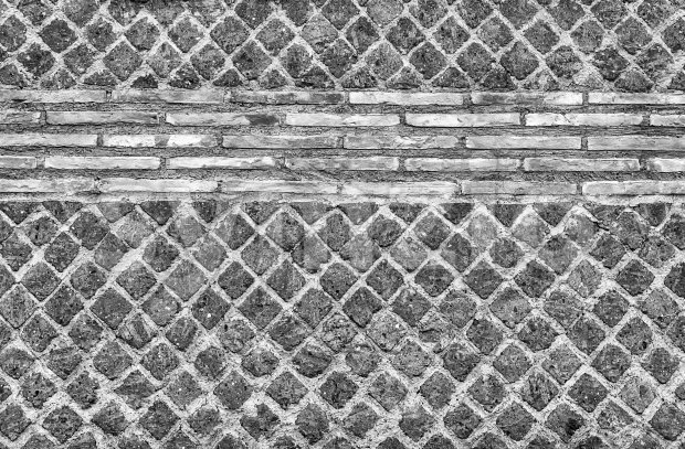Black and White Stone Brick Wall Texture with copy space, may use as background