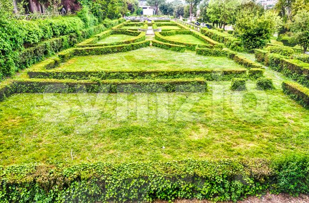 Italian garden in Villa Borghese, Rome, Italy Stock Photo