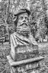 Bust statue of Marco Polo, Villa Borghese, Rome, Italy Stock Photo