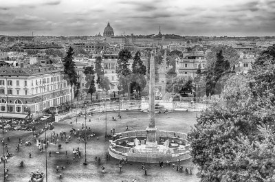 Aerial view of Piazza del Popolo, Rome, Italy Stock Photo
