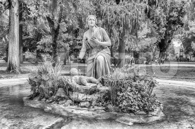 Classical fountain in Villa Borghese park, Rome, Italy Stock Photo