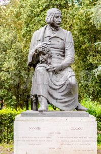 Bronze statue of Gogol in Villa Borghese park, Rome, Italy Stock Photo