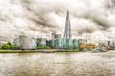 Aerial view of South Bank over Thames River, London, UK Stock Photo