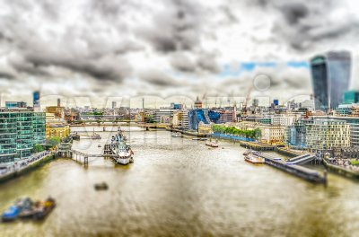 Aerial view of the Thames River, London, UK. Tilt-shift effect applied Stock Photo