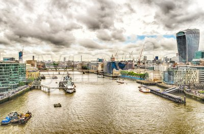 Aerial view over the Thames River, London, UK Stock Photo