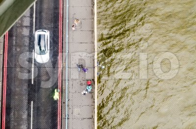 View through the Tower Bridge glass floor, London, UK Stock Photo
