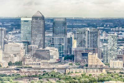 Aerial view of Canary Wharf district in London, UK Stock Photo