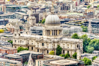 Aerial View of St Paul Cathedral, London, UK Stock Photo
