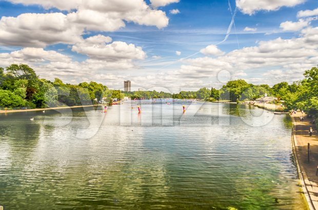 The Serpentine River in Hyde Park on a sunny day, London, UK