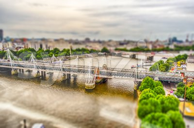Aerial view of central London, UK. Tilt-shift effect applied Stock Photo
