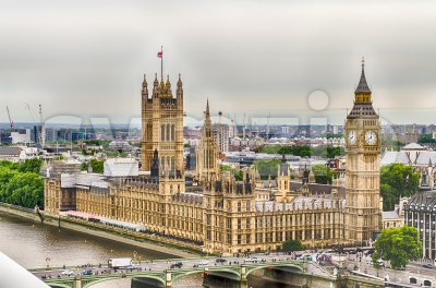Aerial view of the Palace of Westminster, London, UK Stock Photo