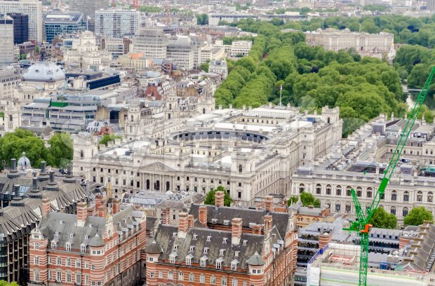 Aerial view of HM Revenue and Customs building, London, UK Stock Photo