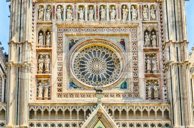 Rose Window, Orvieto Cathedral, Italy Stock Photo
