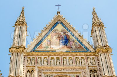 Orvieto Cathedral, top of the facade, Italy Stock Photo