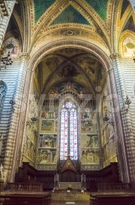Interiors of the medieval gothic Cathedral of Orvieto, Italy Stock Photo