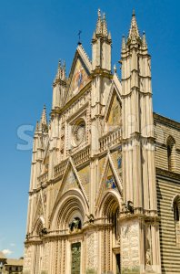 Facade of the Orvieto Cathedral, Italy Stock Photo
