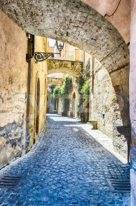 Ancient alley in Orvieto, Italy Stock Photo