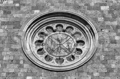 Rose Window in Orvieto, Italy Stock Photo