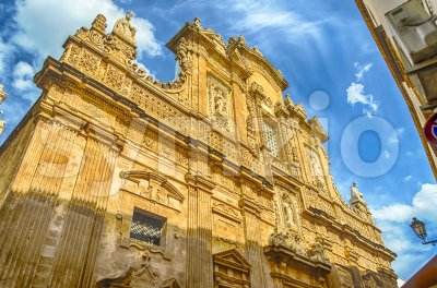 Baroque facade of the Sant'Agata Cathedral in Gallipoli, Italy Stock Photo