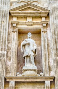 Detail on the facade of Sant'Agata Cathedral, Gallipoli, Italy Stock Photo