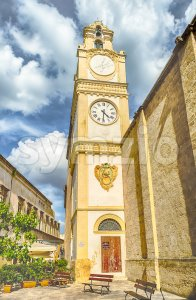 Bell and clock tower of Sant'Agata Cathedral, Gallipoli, Italy Stock Photo