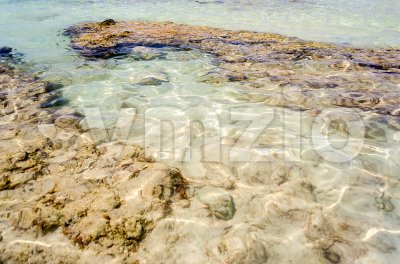 A white sand bottom in Salento beautiful sandy beach, Italy Stock Photo
