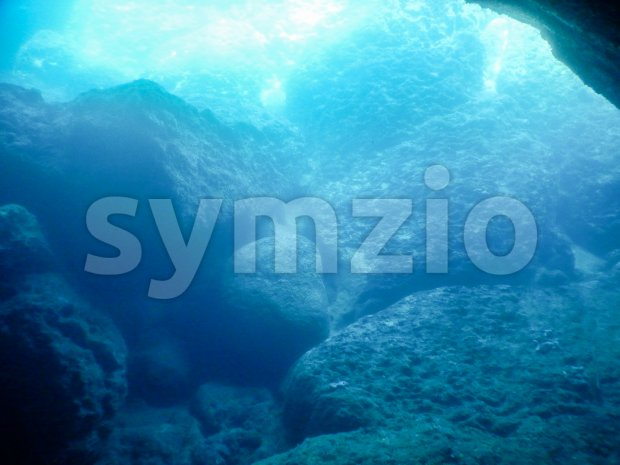 Blue grotto underwater background, Italy Stock Photo