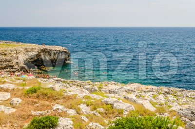 Beautiful seascape at Marina di Andrano, Salento, Apulia, Italy Stock Photo
