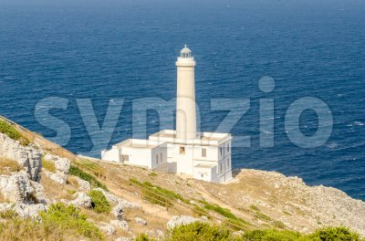 The iconic lighthouse of Capo d'Otranto, Salento, Apulia, Italy Stock Photo
