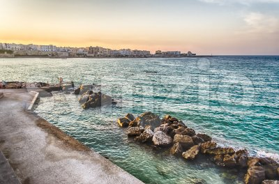 The scenic waterfront of Otranto, eastern most city in Italy Stock Photo