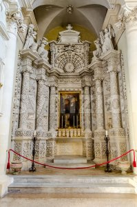 Church of the Holy Cross, interiors. Lecce, Italy Stock Photo