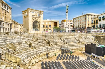 The Roman amphitheatre in Sant'Oronzo square, Lecce, Salento, Italy Stock Photo