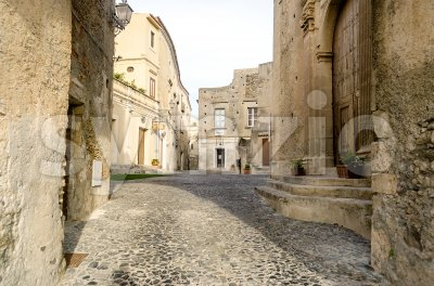 Ancient street in old town of a southern Italy village Stock Photo