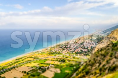 Aerial view of coastline in Calabria, Italy. Tilt-shift effect applied Stock Photo