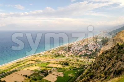 Aerial view over the coastline in Calabria, Italy Stock Photo