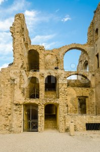 Ruins of an old castle in south of Italy Stock Photo