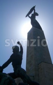 Silhouette of the Liberty Statue on the Gellért Hill, Budapest, Hungary Stock Photo