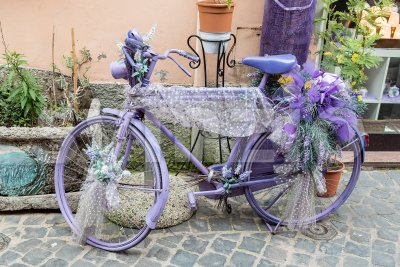 Vintage violet bicycle with flowers and laces Stock Photo
