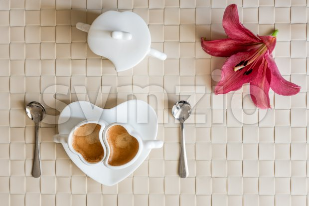 Flat lay with two cups of espresso coffee and flower Stock Photo