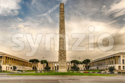 The Marconi obelisk, in the EUR district, Rome, Italy Stock Photo