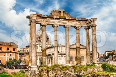 Temple of Saturn ruins in Roman Forum, Rome, Italy Stock Photo
